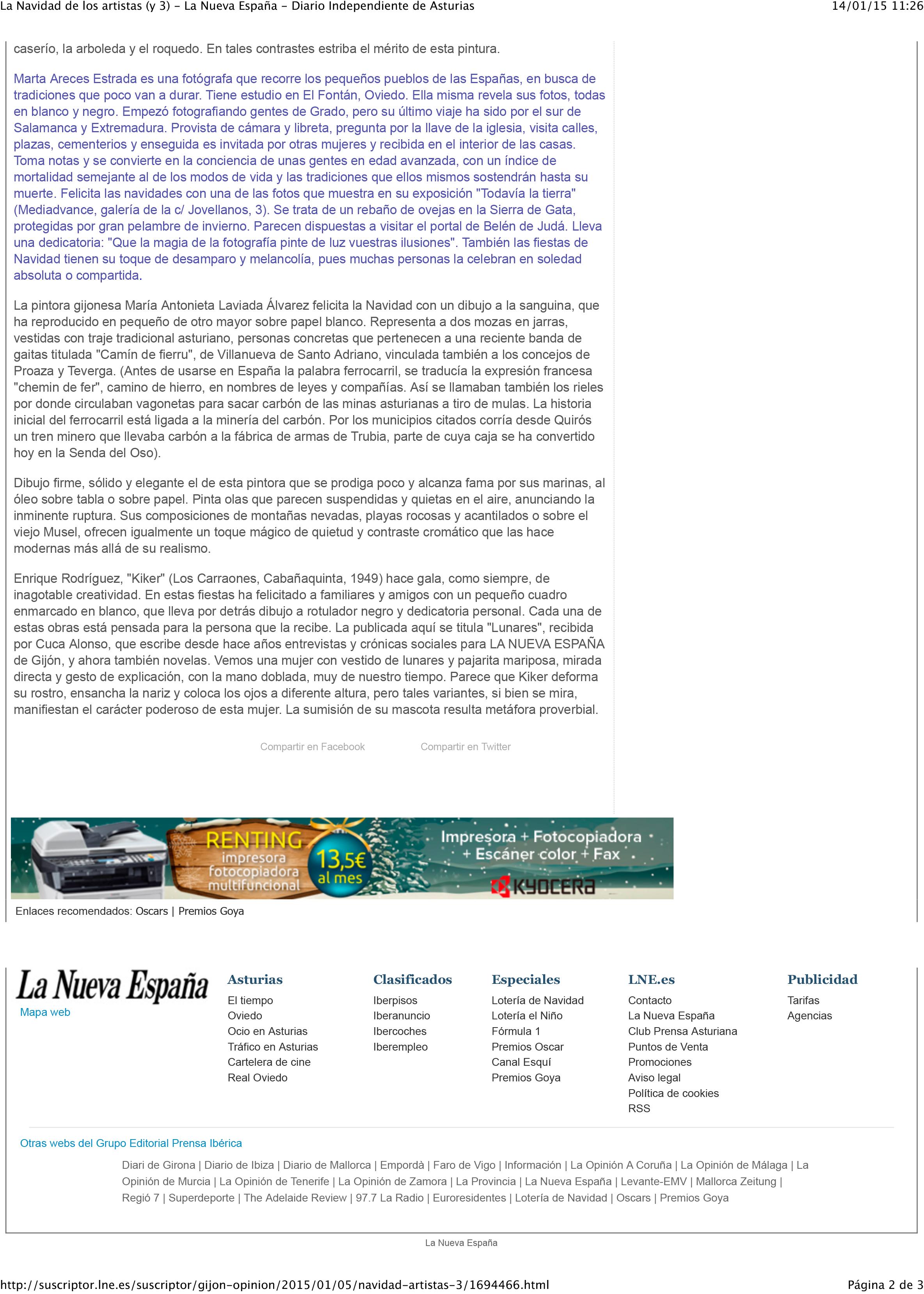 La Navidad de los artistas (y 3) - La Nueva España - Diario Ind